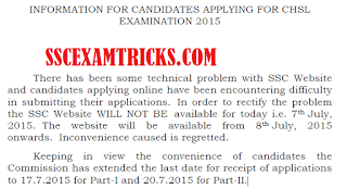 SSC CHSL NOTICE FOR EXTENDING LAST DATE