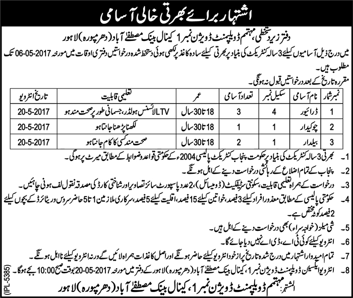 Contract Based LDA Jobs in Lahore Development Authority 4 May 2017