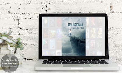 Mockup of DELUSIONAL eBook on laptop.