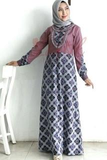 Gamis Sifon Kombinasi Blazer Batik