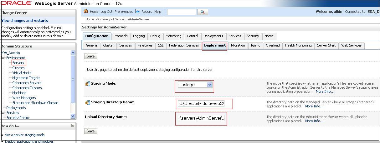Weblogic Server Deployment Staging Configuration