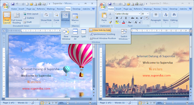 view side by side microsoft word