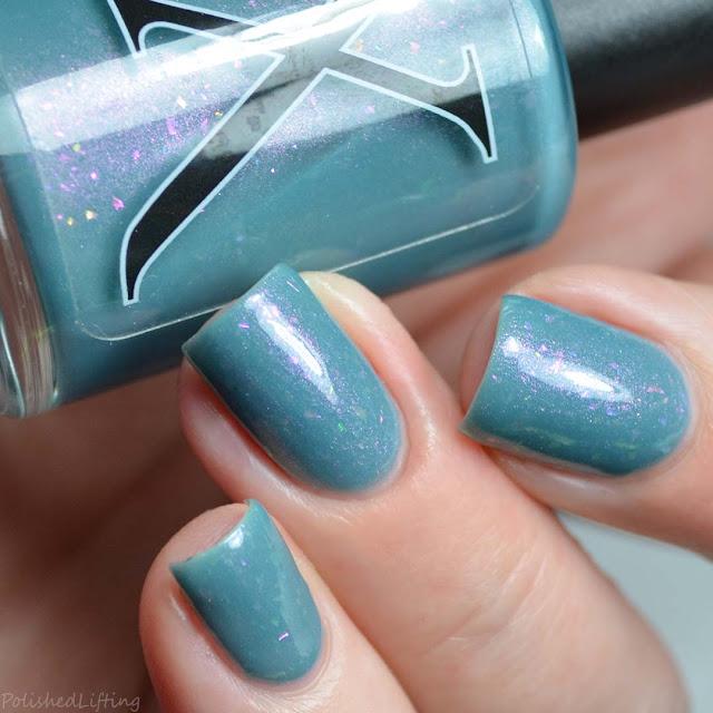 teal nail polish with color shifting shimmer