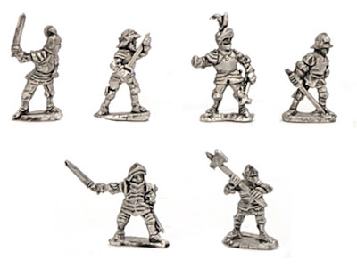 H-1021 WOTR Dismounted Men at Arms - SINGLES - (32 figures + 4 bases)