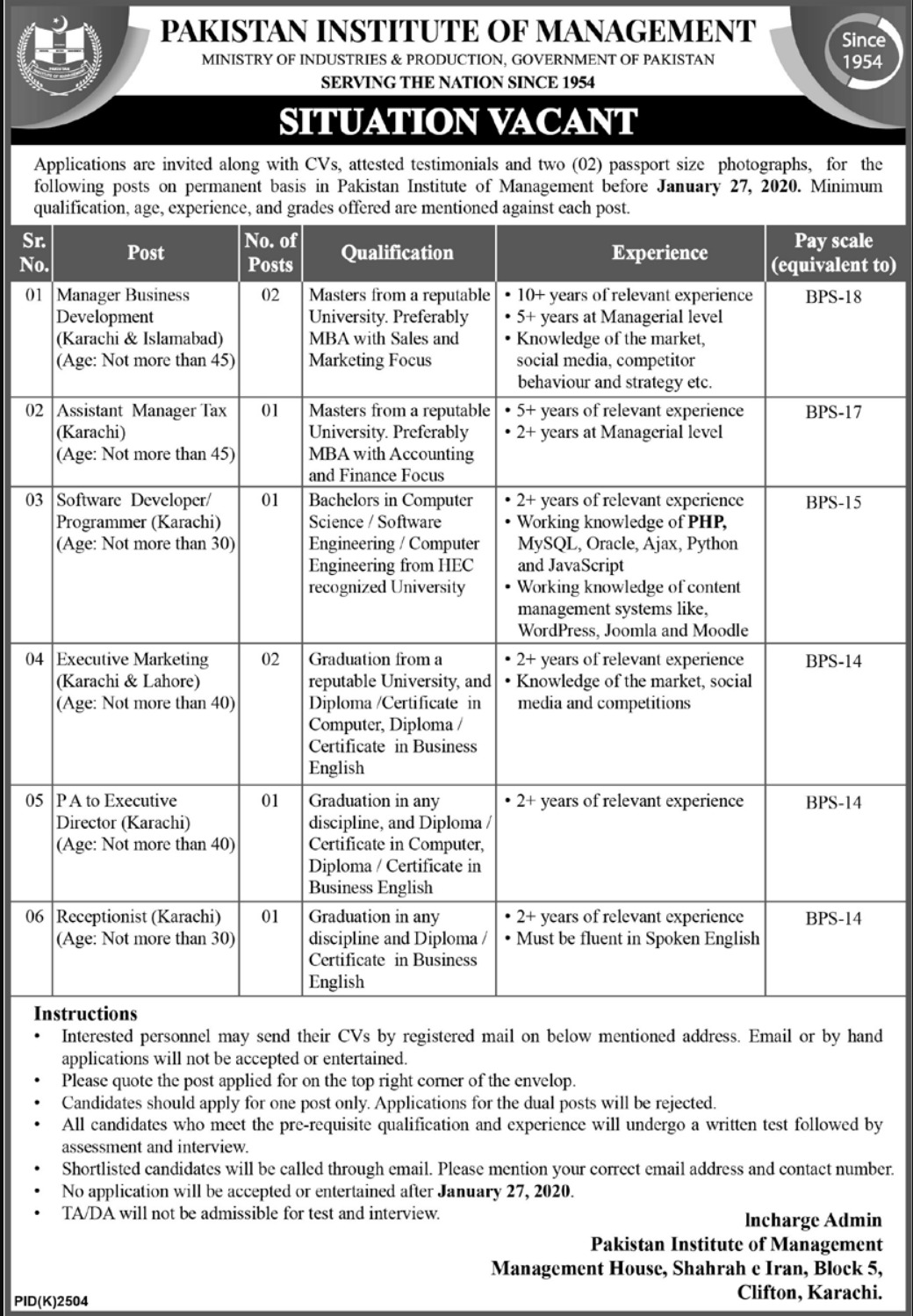 Ministry of Production Jobs January 2020