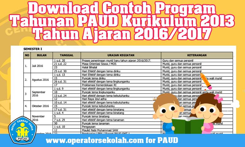 Download Contoh Program Tahunan PAUD Kurikulum 2013 Tahun Ajaran 2016/2017