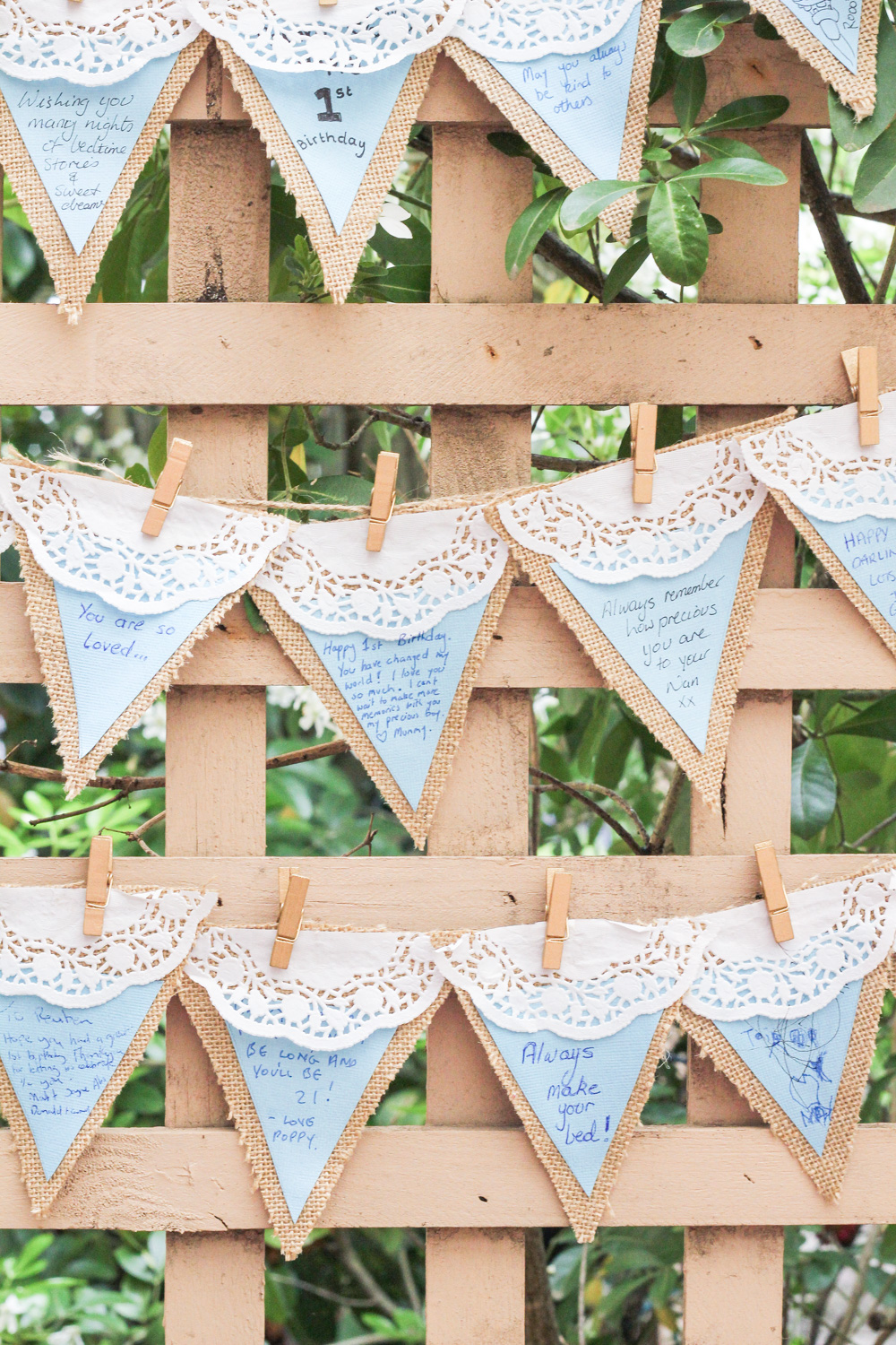 Messages on pretty bunting at first birthday