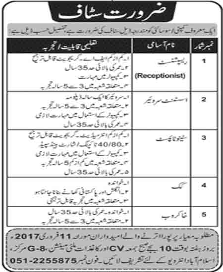 receptionist, assistant surveyor, stenotypist, cook jobs in islamabad 8 Feb 2017