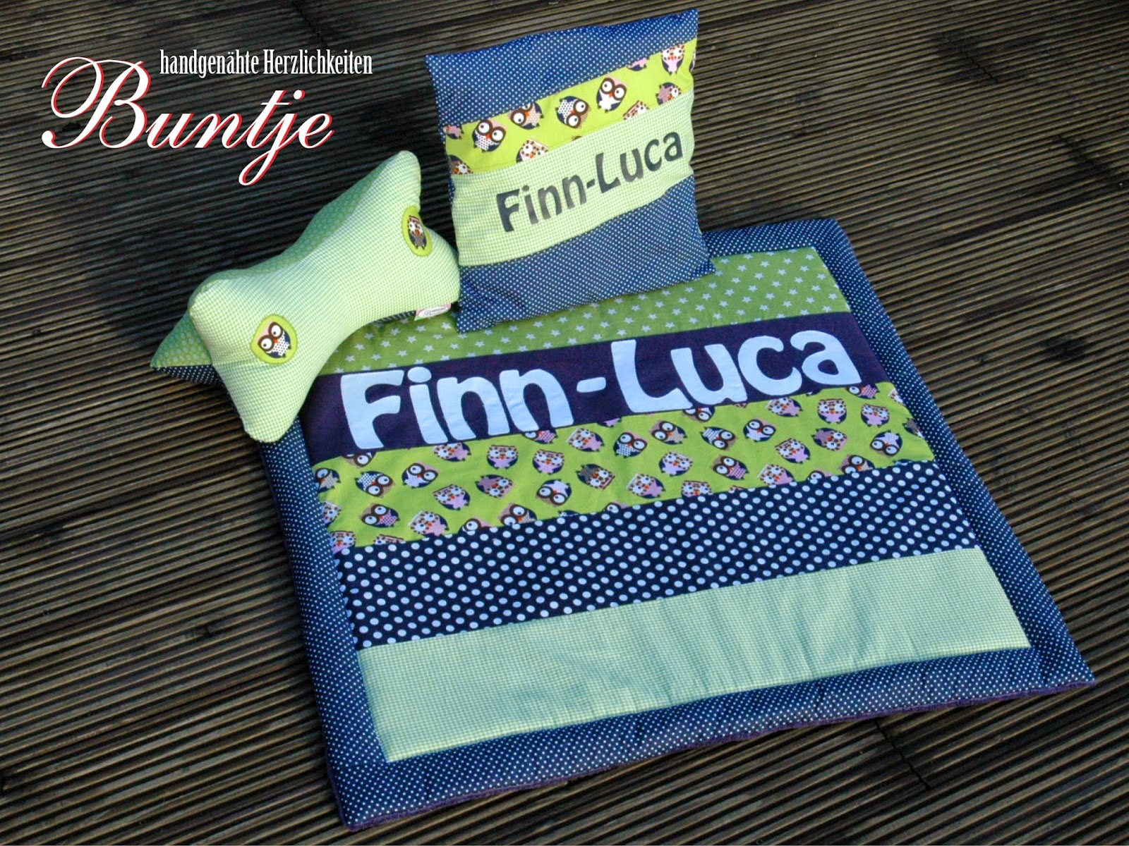 Krabbeldecke Kuscheldecke Decke Baby Name Geschenk Geburt Taufe Junge Finn-Luca grün blau Eulen Fleece Baumwolle Buntje nähen