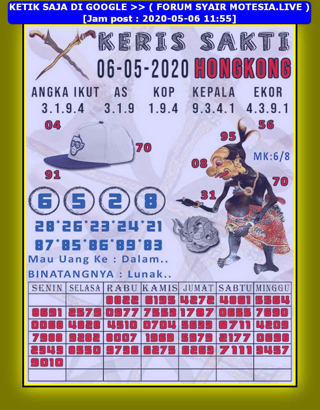 Kode syair Hongkong Rabu 6 Mei 2020 182