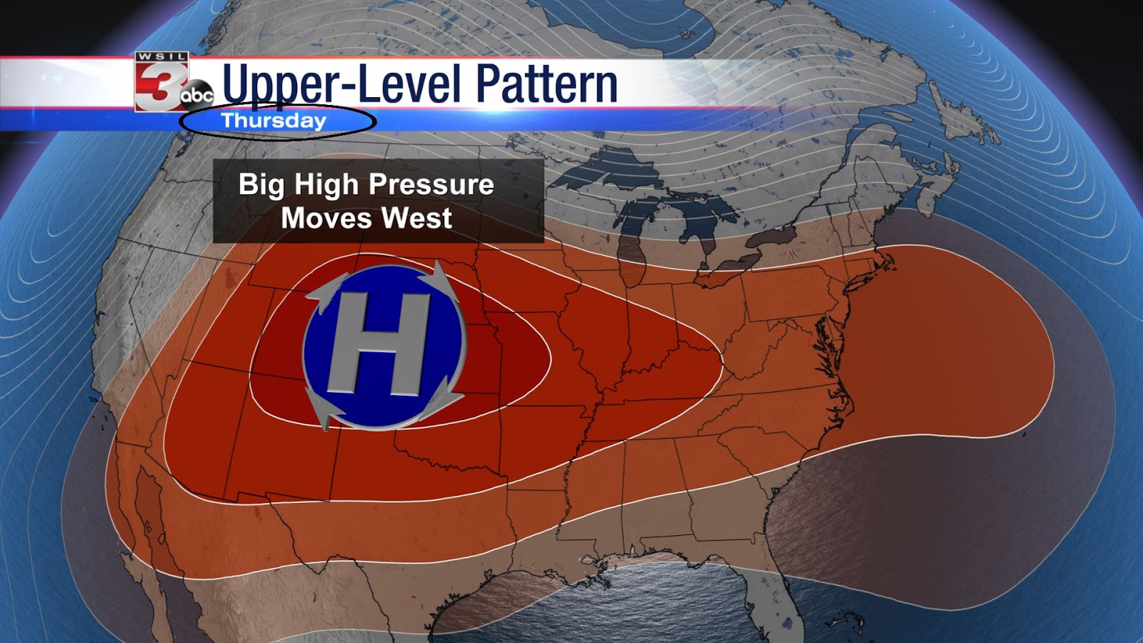 big dome of high pressure responsible for the heat remains in control through thursday