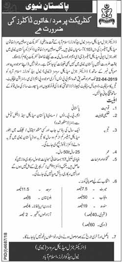 Pakistan Navy Jobs for Male & Female Doctors 2019