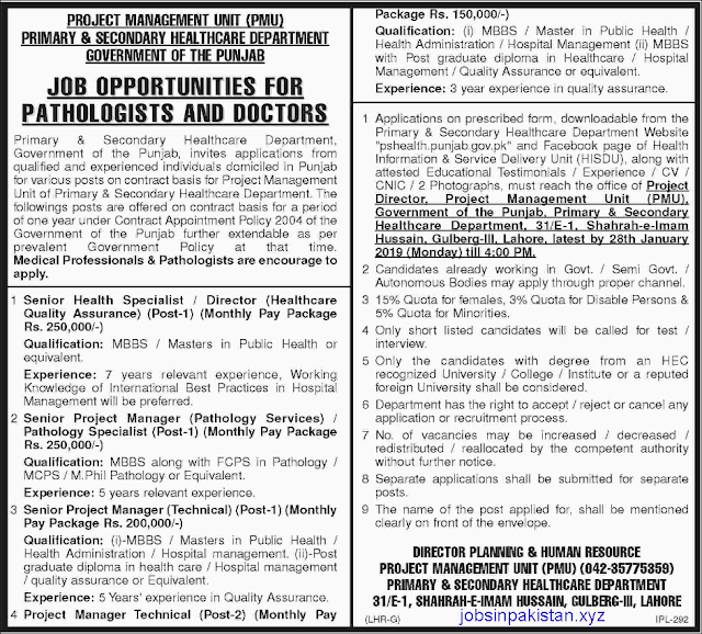 Advertisement for PS Health Jobs January 2019