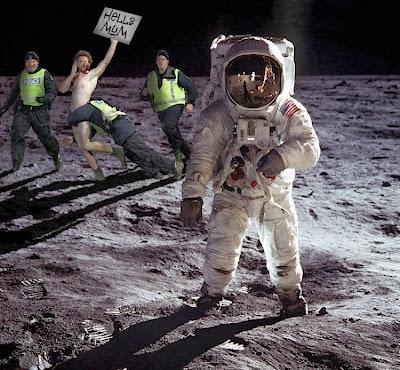 Funny lunar landing hoax conspiracy picture - Hello mum man streaker