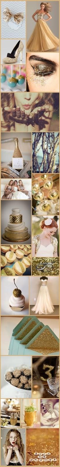 gold glitter wedding day