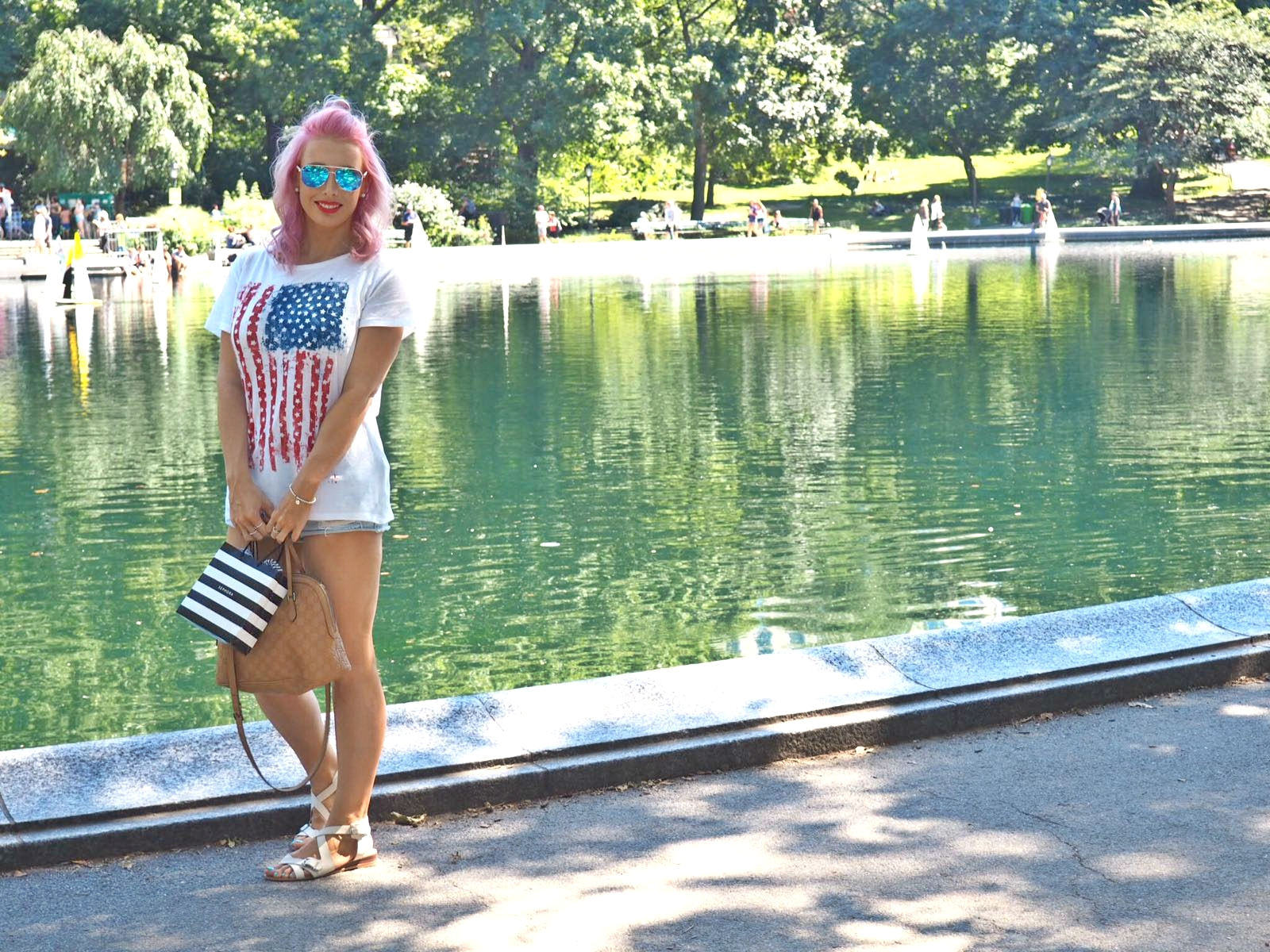 central park new york, blogger holiday, pink hair