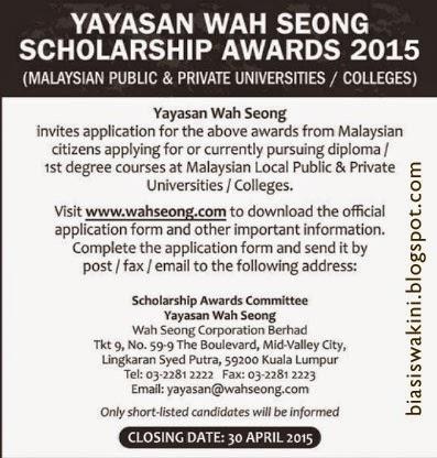 Yayasan Wah Seong Scholarhip 2015