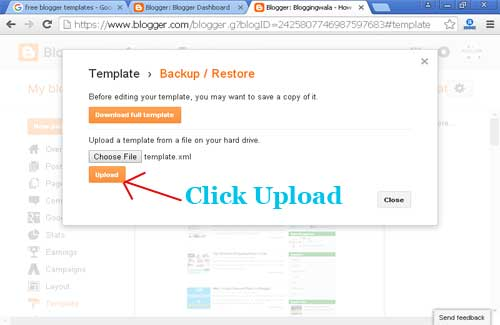 upload blogger template