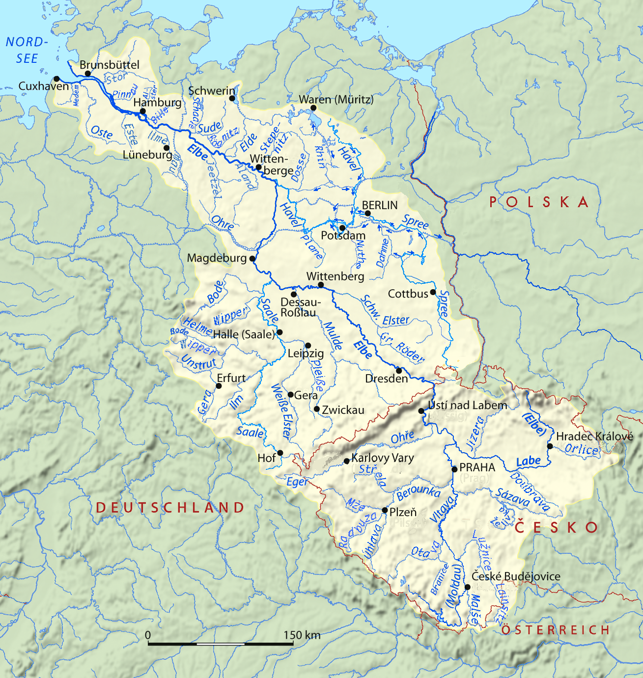 the elbe basin in europe the river drains the mountain rimmed region of bohemia and flows northwest through eastern and northern germany to the north sea