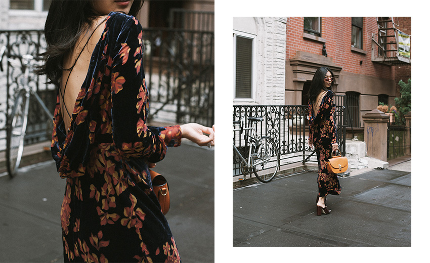 Stephanie Liu Hjelmeseth of Honey & Silk wearing Saloni Tina Dress & Dorateymur Munise Mules
