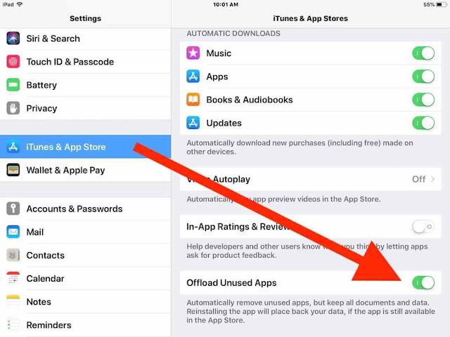 إلغاء تحميل التطبيقات غير المستخدمة - Offload Unused Apps