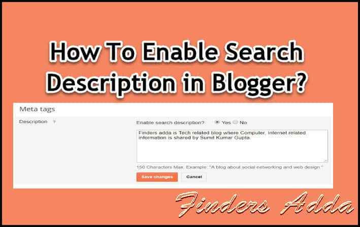 How to enable search description in blogger blog