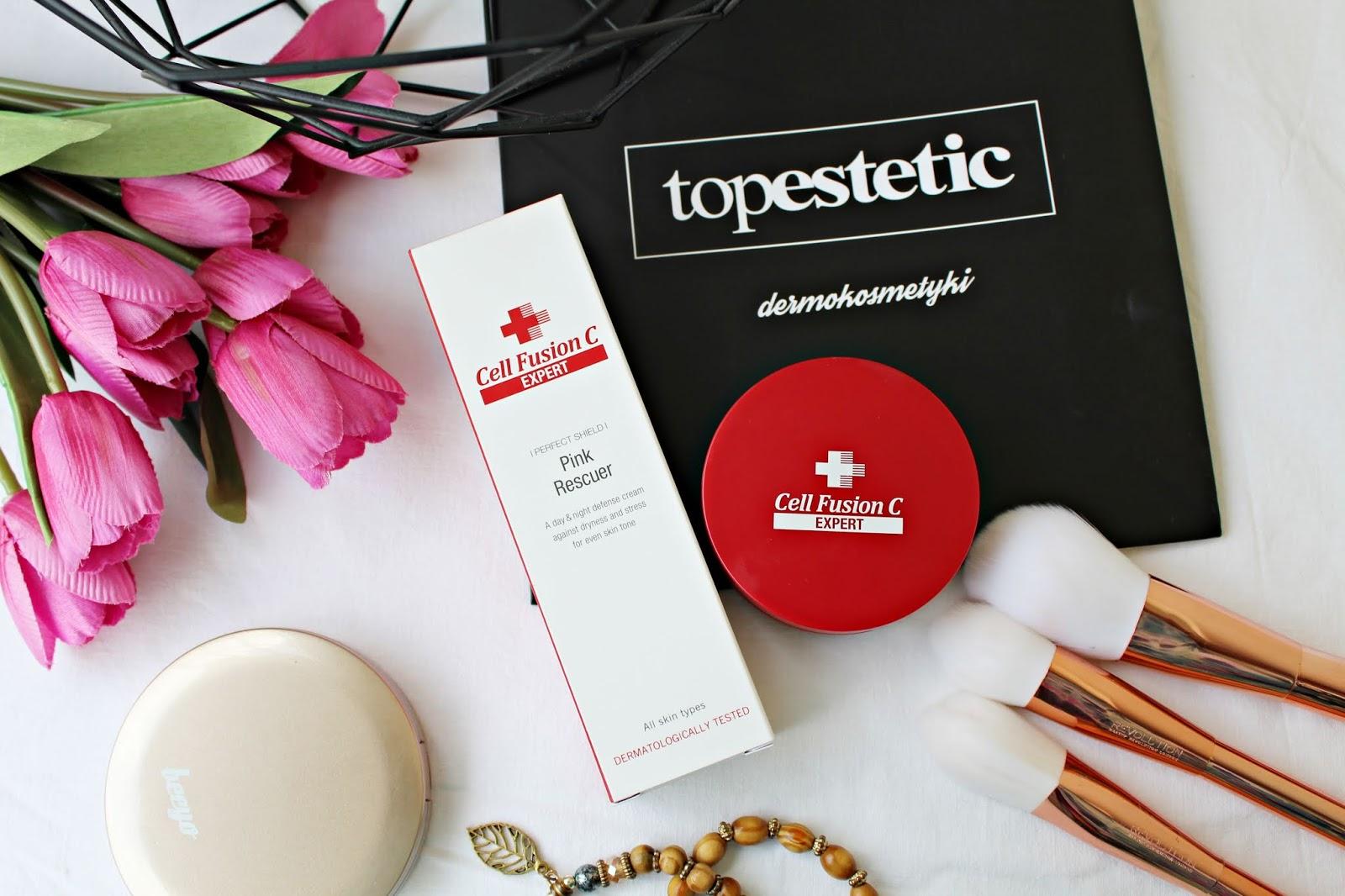 Ochrona skóry przed działaniem stresu i światła niebieskiego CELL FUSION C EXPERT - PINK RESCUER + SKIN TONE-UP BB CUSHION - TOPESTETIC