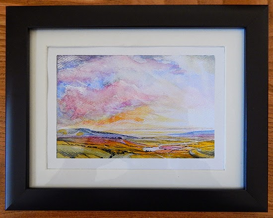 Water Colour Landcape Sketch for sale of a hillfort looking out to sea.