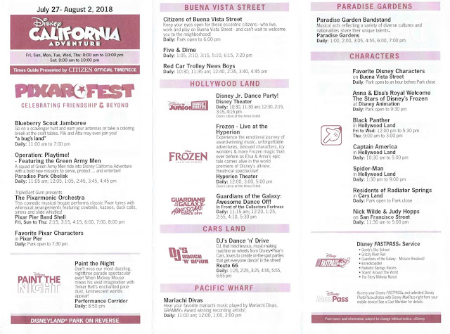 Disney California Adventure Times Guide July 2018 Pixar Fest