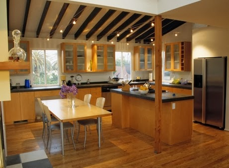 beamed ceiling for kitchen interior