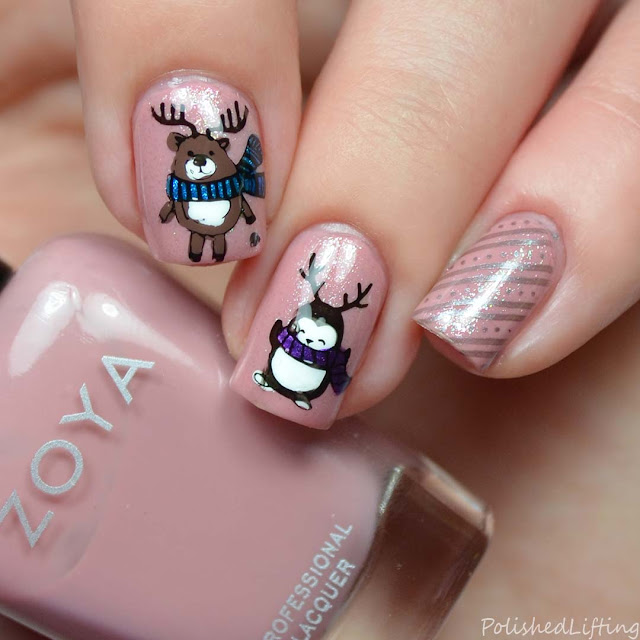 reindeer penguin stamped nail art