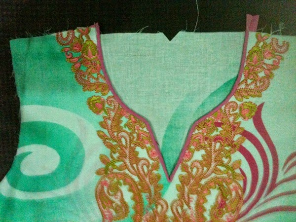 piping neckline for embroidered shirts