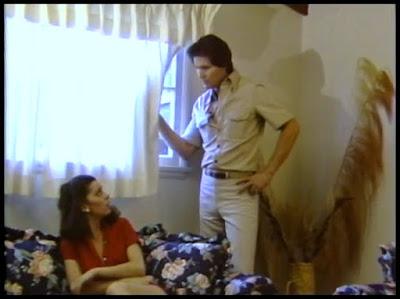Mary McKinley aka Dr. Maryel McKinley alongside Josh Brolin's stuntman Uncle in BOARDINGHOUSE (1982)