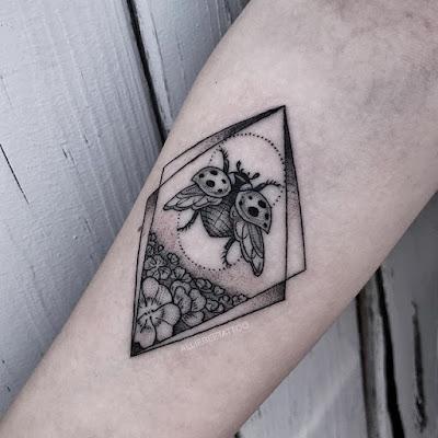 ladybug black and white tattoo