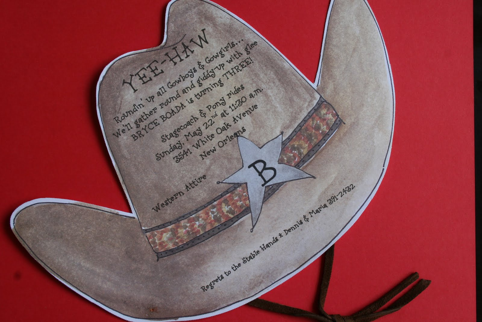 I Purchased The Invitation From One Of My Vendors Julia D Azar Which Were Large Cut Cowboy Shaped Hats With A Leather Strap Most Invitations Are Now