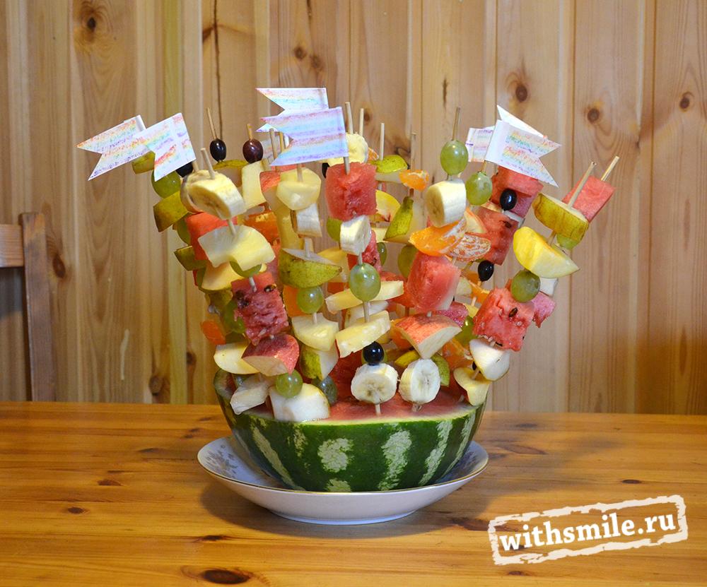 к дню рождения, фруктовый шашлык, радуга,