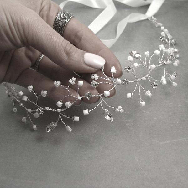 Kryształowa opaska ślubna