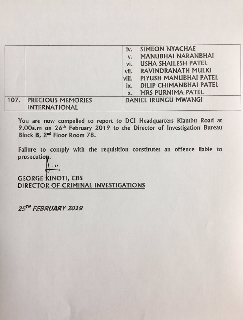 Full List Of Persons And Entities Listed In The Kimwarer Dam Scam