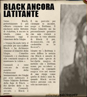 L3C3M2: pagina della Gazzetta del Profeta sull'evasione di Sirius Black