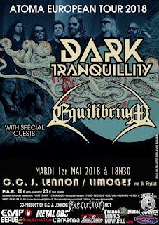 L'affiche du concert de Dark Tranquillity + Equilibrium (Limoges)