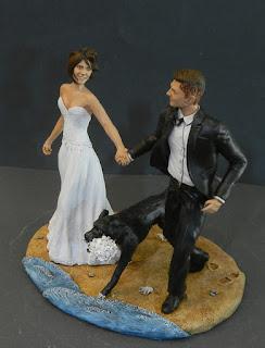 cake topper corsa spiaggia cane bouquet sposini per mano orme magiche