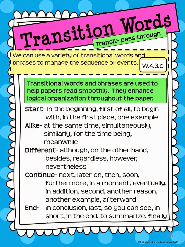 Transition words and phrases for opinion writing anchor