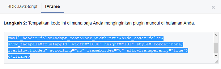 kode iframe like box halaman facebook