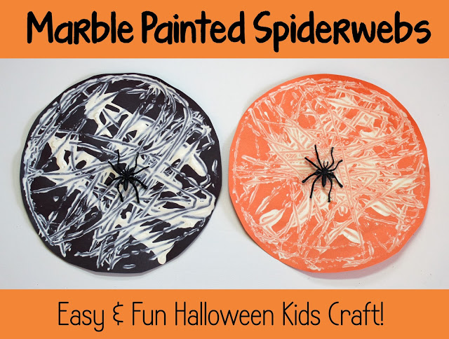 Halloween+Kids+Craft+Marble+Painted+Spiderwebs 12 Spooktacular Halloween Kid Crafts 30