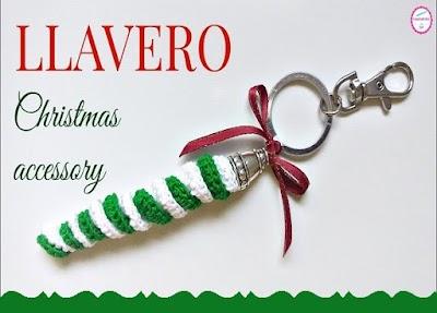 Llaveros crochet resortes rizados 2 colores para Navidad