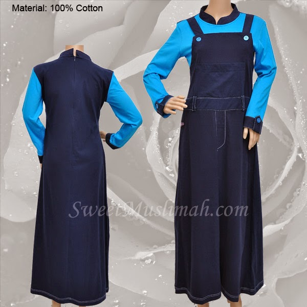 JUBAH COTTON MT48 Biru (KOLEKSI MUTIF) - SOLD OUT