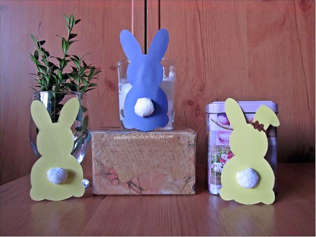 Niebieski zajączek- ozdoba świeczki i 2 żółte zające