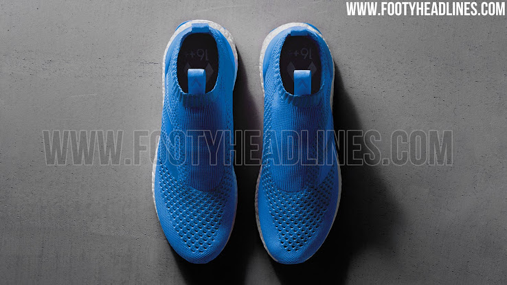 the latest 32b11 ba1e8 ... of the earlier paint jobs of the on-pitch Adidas Ace 16+ PureControl  boots. All parts of the shoe, excluding the Boost midsole which is white,  are blue.