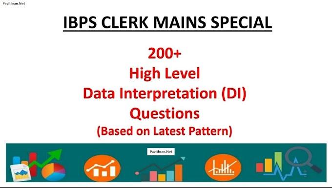 IBPS Clerk Mains Special 200+ High Level Data Interpretation(DI) Questions PDF Download