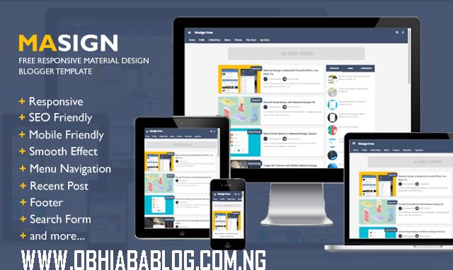 Masign Free Responsive Material Design Blogger Template • Blogging ...